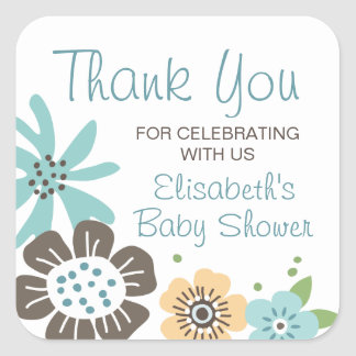 Pretty flowers baby shower thank you square sticker