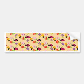 Pretty Flowers Bees and Ladybug Pattern Car Bumper Sticker