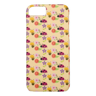 Pretty Flowers Bees and Ladybug Pattern iPhone 8/7 Case