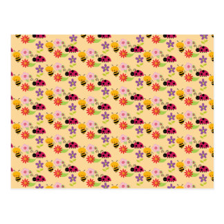 Pretty Flowers Bees and Ladybug Pattern Postcards