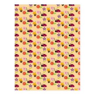 Pretty Flowers Bees and Ladybug Pattern Post Card