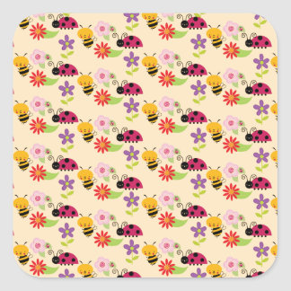 Pretty Flowers Bees and Ladybug Pattern Square Sticker