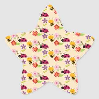 Pretty Flowers Bees and Ladybug Pattern Star Sticker