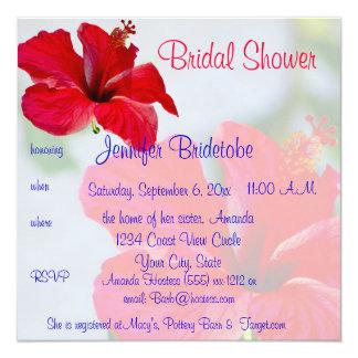 Pretty Flowers Bridal Shower 5.25x5.25 Square Paper Invitation Card