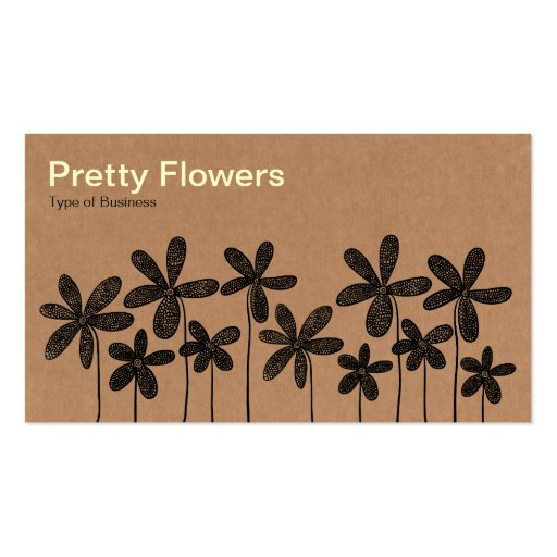 Pretty Flowers - Cardboard Box Texture Business Card Templates