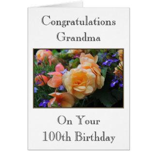 Pretty Flowers Grandma 100th Birthday Card