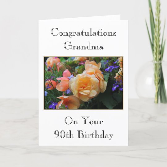 Pretty Flowers Grandma 90th Birthday Card