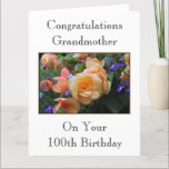 """Pretty Flowers, Grandmother 100th Birthday Card. Card<br><div class=""""desc"""">100th birthday card for a Grandmother,  with a nice floral picture. The text can be customized if you wish. A pretty and stylish card.</div>"""