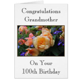 Pretty Flowers, Grandmother 100th Birthday Card. Card