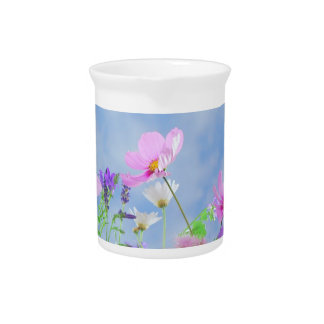 Pretty Flowers in delicate colours Beverage Pitcher