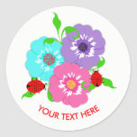 Pretty Flowers & Ladybugs Cute Whimsy Personalized Classic Round Sticker