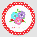 Pretty Flowers Ladybugs Cute Whimsy Personalized Classic Round Sticker