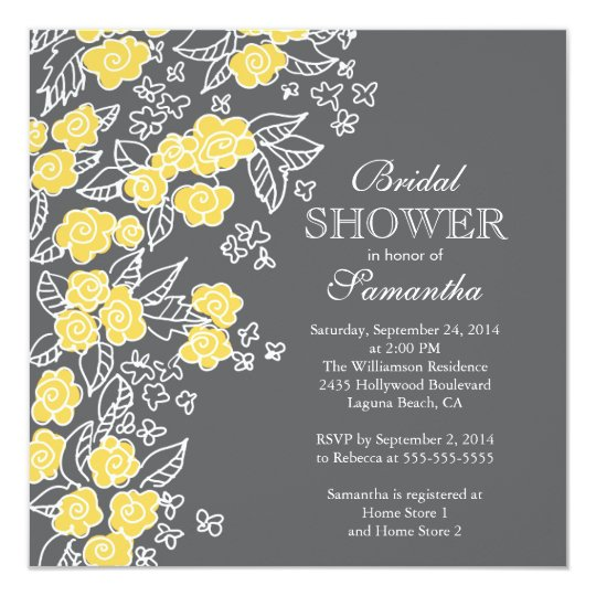 pretty flowers modern gray yellow bridal shower invitation