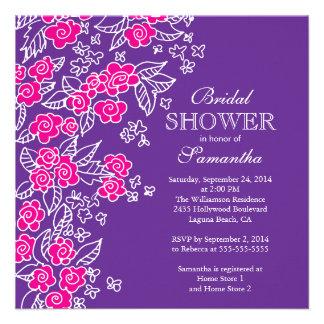 Pretty Flowers Modern Pink Purple Bridal Shower Invitations