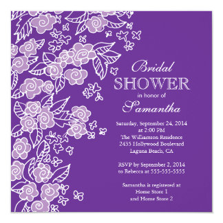 Pretty Flowers Modern Purple & white Bridal Shower Card