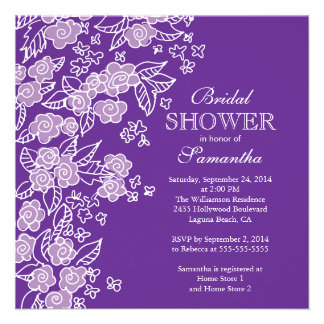 Pretty Flowers Modern Purple white Bridal Shower Personalized Invitations