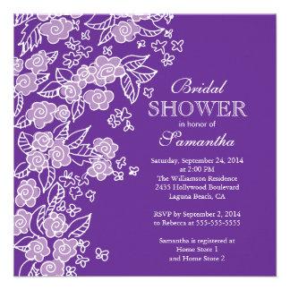 Pretty Flowers Modern Purple white Bridal Shower Personalized Invitations