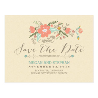 pretty flowers modern save the date postcard