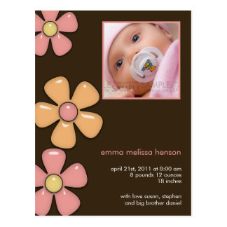 Pretty Flowers Pink/Brown • Baby Announcement Postcard
