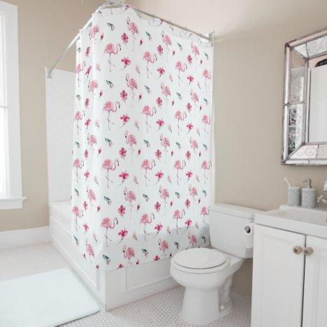 Pretty Flowers & Pink Flamingo Shower Curtain