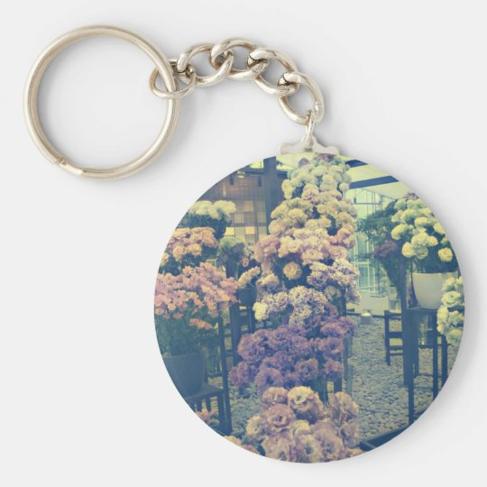Pretty flowers purple and pink keychain