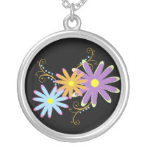 pretty flowers silver plated necklace