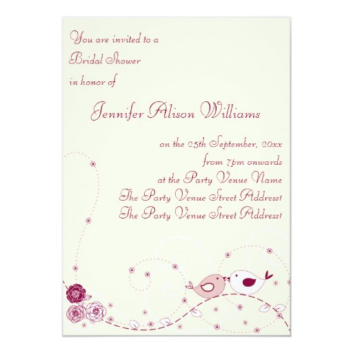Pretty Flowers, Swirls and Lovebirds Bridal Shower 5x7 Paper Invitation Card