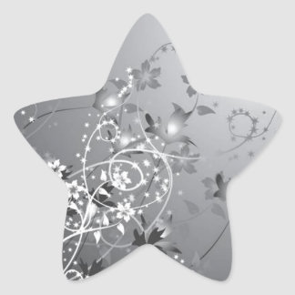 Pretty Flowers Under the Moon Star Sticker
