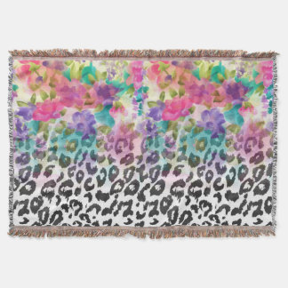 Pretty flowers Watercolor hand paint leopard Throw