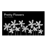 Pretty Flowers - White on Black Business Card Templates