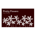 Pretty Flowers - White on Brown (Alternating) Business Card Template
