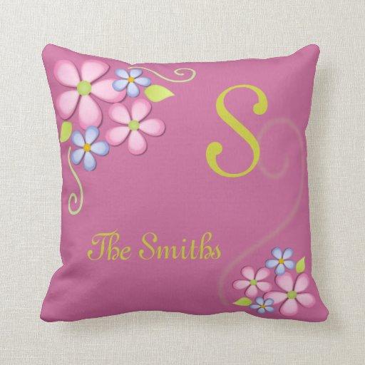 Pretty Flowers with Custom Monogram Pillows