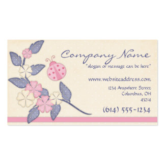 Pretty Flowers with Pink Ladybug Business Card