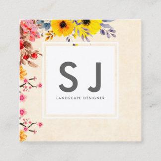Pretty Flowery Botanical Landscape Designer Square Business Card