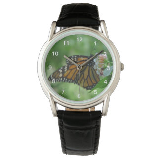 Pretty Fluttering Monarch Butterfly on Pink Flower Wristwatch
