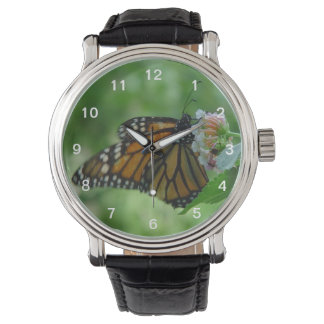 Pretty Fluttering Monarch Butterfly on Pink Flower Wristwatches