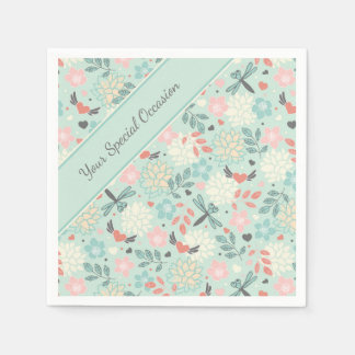 Pretty Flying Hearts and Dragonflies Napkin