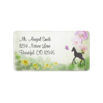 Pretty Foal, Butterfly and Flowers Horse Address Label