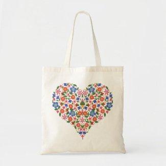 Pretty Folk Art Floral Heart Budget Tote Bag