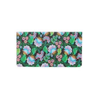 Pretty Folk Art Floral Pattern in Blue Green Pink Checkbook Cover