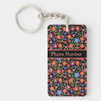Pretty Folk Art Style Floral Black Oblong Keychain
