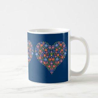Pretty Folk Art Style Floral Heart on Blue Mug