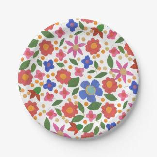 Pretty Folk Art Style Floral Miniprint Paper Plate 7 Inch Paper Plate