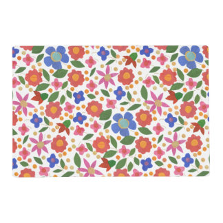 Pretty Folk Art Style Floral Miniprint Placemat