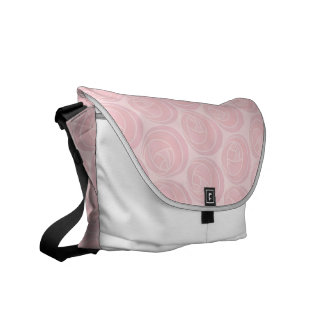 Pretty Foral Art Nouveau Roses Pattern in Pink Messenger Bag
