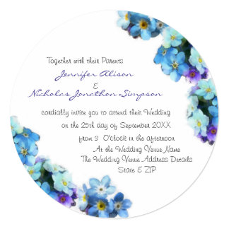 Pretty Forget Me Not Flowers Wedding Card