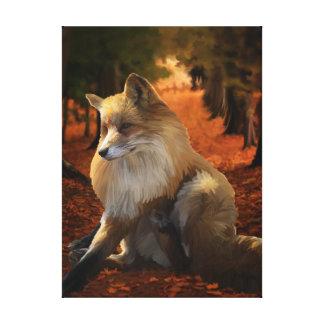 Pretty Fox wrapped canvas print, fall leaves