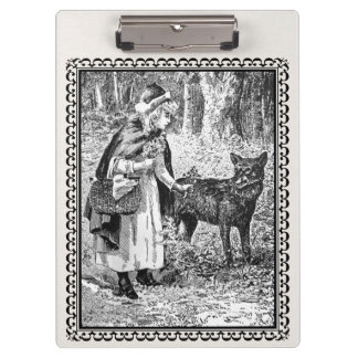 Pretty Framed Vintage Red Riding Hood With Wolf Clipboard