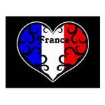 Pretty France heart Postcard