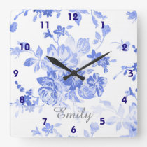 pretty french blue delft look blue white floral square wall clock